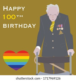 Brighton UK - April 29 2020 vector illustration of Captain Tom Moore, who surpassed his original target of raising £1,000 for the NHS in the fight against Covid-19 with text Happy 100th Birthday