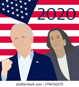 Brighton UK - August 16 2020 vector illustration of American president and Vice President candidate  for November 2020 presidential election. Democrat Jo Biden and Kamala Harris with US flag behind