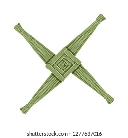 Brigid's Cross made of green straw. Wiccan pagan symbol isolated element