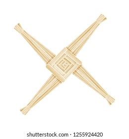Brigid's Cross made of straw. Wiccan pagan symbol isolated element