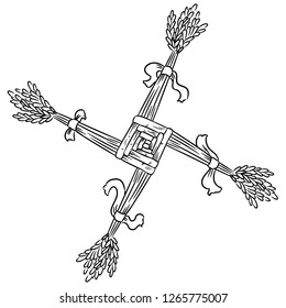 Brigid's Cross made of straw. Wiccan pagan sketched symbol. Isolated element