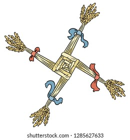 Brigid's Cross made of straw. Wiccan Imbolc pagan symbol isolated element