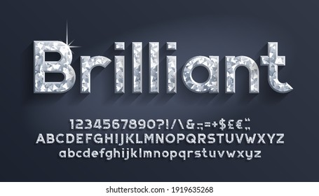 Brilliant alphabet font. Luxury diamond letters, numbers and punctuations. Uppercase and lowercase. Stock vector illustration.