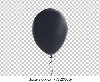 Brilliant black balloon with realistic tie and ribbon string flying on background. Vector illustration for your unique design in any occasion ; celebration, party, birthday, black friday, Christmas.