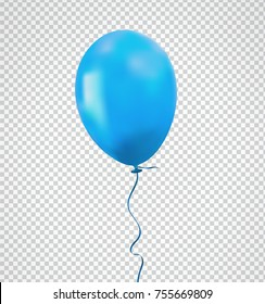 Brilliant blue balloon with realistic tie and ribbon, string flying on background. Vector illustration for your creative design decoration ; celebration, party, anniversary, birthday, New Year