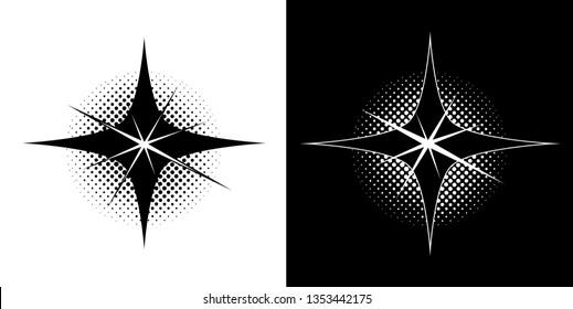 brilliant bright light and dark diamond star symbol icon logo insignia