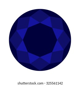 brilliant cut, diamond cut, perfect round illustration blue sapphire