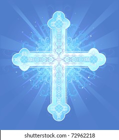 brilliant decorated in a pattern, Christian, Latin cross on a blue background radiant.