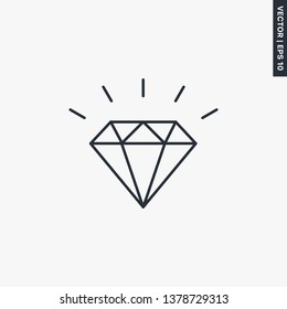 Brilliant, diamond line icon. linear style sign for mobile concept and web design. Symbol, logo illustration. Pixel perfect vector graphics