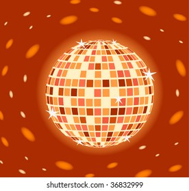 Brilliant Disco sphere on a orange background with patches of light
