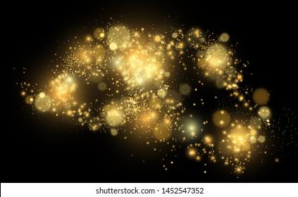 Brilliant gold dust vector shine. Glittering shiny ornaments for background. Vector illustration.