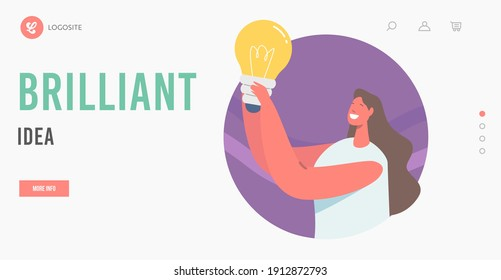 Brilliant Idea Landing Page Template. Happy Female Character Holding Glowing Lamp, Woman with Lightbulb Thinking, Brainstorming, Research Solution, Eureka Inspiration. Cartoon Vector Illustration