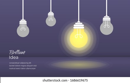 Brilliant idea light bulb concept with dark background illustration. Vector template for website, banner, flyer, poster and printing