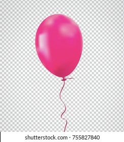 Brilliant Pink balloon with realistic tie and ribbon string flying on background. Vector illustration for your unique design in any occasion ; celebration, party, anniversary, birthday, Valentine
