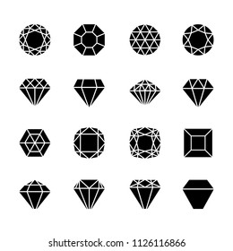 Brilliant shapes. Diamonds vector icons isolated on white, cutting precious stone set, black sapphire or brilliant crystal gems