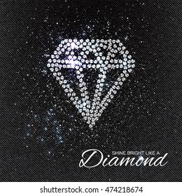 Brilliant stones diamond on black Denim Texture. Silver applique. Beautiful jewelry brooch with rhinestones.  Fashion decor print.