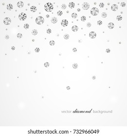 Brilliant vector snowfall. Abstract background with diamonds and pearls for graphic design