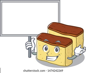 Bring board castella cake isolated in the cartoon