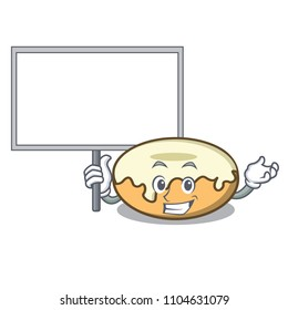 Bring board donut with sugar character cartoon