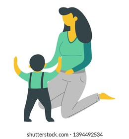 Bringing up child mother and son isolated characters woman and baby vector mom and little boy or toddler love and care family motherhood and childhood parent and kid in crawlers teaching walking