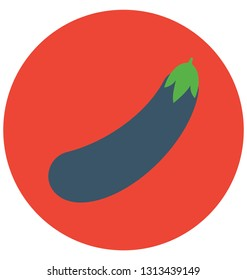 Brinjal, eggplant Isolated Color Vector Icon that can be easily modified or edit.
