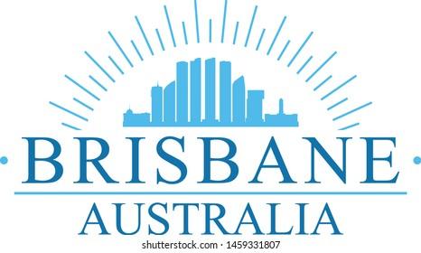 Brisbane Australia City. Banner Design. City Skyline. Silhouette Vector. Famous Monuments.