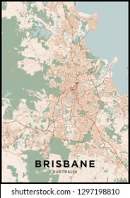 Brisbane (Australia) city map. Poster with map of Brisbane in color. Scheme of streets and roads of Brisbane.