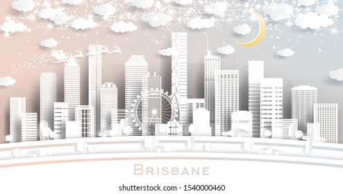 Brisbane Australia City Skyline in Paper Cut Style with Snowflakes, Moon and Neon Garland. Vector Illustration. Christmas and New Year Concept. Santa Claus on Sleigh.