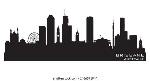 Brisbane Australia skyline Detailed vector silhouette