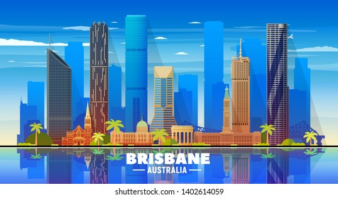 Brisbane Australia skyline with panorama on sky background. Vector Illustration. Business travel and tourism concept with modern buildings. Image for banner or web site