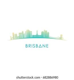 Brisbane, Australia skyline silhouette red vector design on white background.