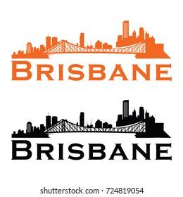 Brisbane Australian skyline Logo cityscape and landmarks silhouette vector illustration