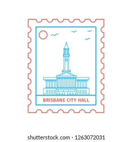 BRISBANE CITY HALL postage stamp Blue and red Line Style, vector illustration