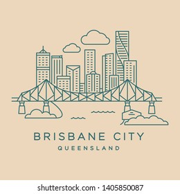 Brisbane City Queensland thin line icon showing the Story Bridge, Howard Smith Wharves and Brisbane CBD buildings