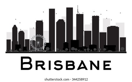 Brisbane City skyline black and white silhouette. Vector illustration. Simple flat concept for tourism presentation, banner, placard or web site. Business travel concept. Cityscape with landmarks