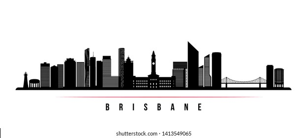Brisbane city skyline horizontal banner. Black and white silhouette of Brisbane city, Australia. Vector template for your design.