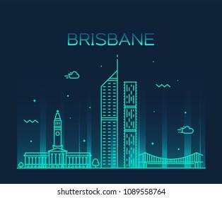 Brisbane city skyline, Queensland, Australia. Trendy vector illustration, linear style