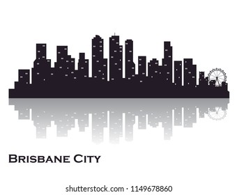 Brisbane city skyline silhouette. creative vector graphics