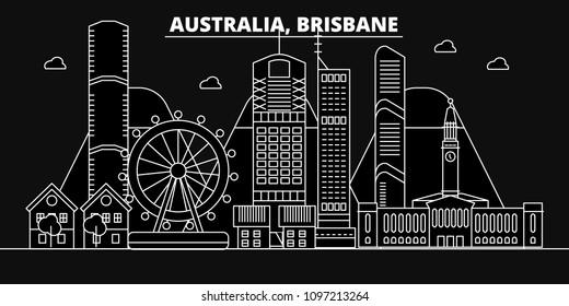 Brisbane silhouette skyline. Australia - Brisbane vector city, australian linear architecture, buildings. Brisbane travel illustration, outline landmarks. Australia flat icons, australian line banner