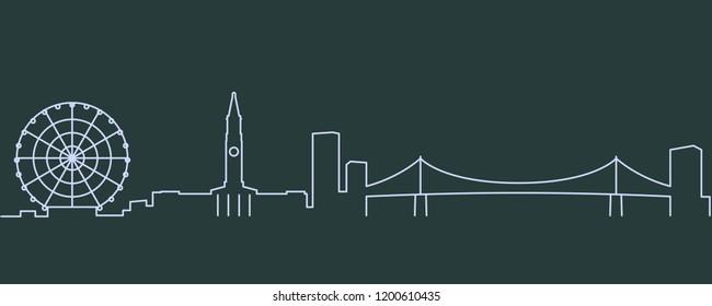Brisbane Single Line Skyline