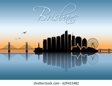 Brisbane skyline - Australia - vector illustration