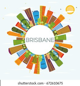 Brisbane Skyline with Color Buildings, Blue Sky and Copy Space. Vector Illustration. Business Travel and Tourism Concept with Modern Architecture. Image for Presentation Banner Placard and Web Site.