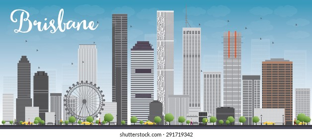 Brisbane skyline with grey building and blue sky. Vector illustration. Business travel and tourism concept with modern buildings. Image for presentation, banner, placard and web site.