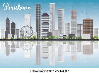 Brisbane skyline with grey building and blue sky. Vector illustration. Business travel and tourism concept with place for text. Image for presentation, banner, placard and web site.