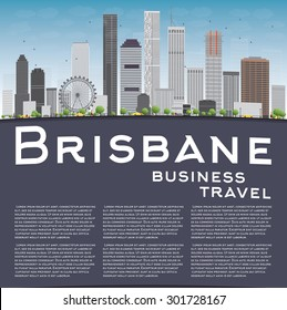 Brisbane skyline with grey building, blue sky and copy space. Business travel and tourism concept with place for text. Image for presentation, banner, placard and web site. Vector illustration