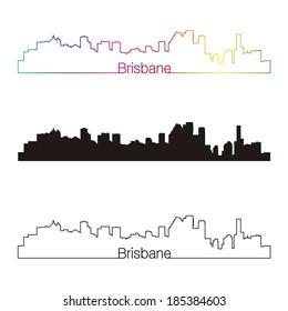 Brisbane skyline linear style with rainbow in editable vector file