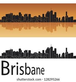 Brisbane skyline in orange background in editable vector file