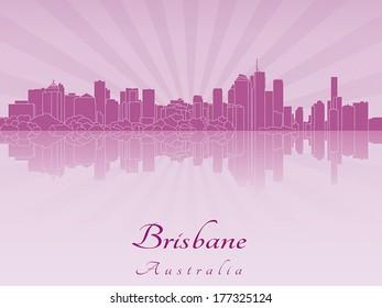 Brisbane skyline in purple radiant orchid in editable vector file