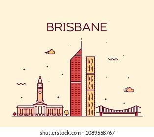 Brisbane skyline, Queensland, Australia. Trendy vector illustration, linear style