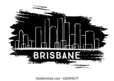Brisbane Skyline Silhouette. Hand Drawn Sketch. Business Travel and Tourism Concept with Historic Architecture. Image for Presentation Banner Placard and Web Site. Vector Illustration.